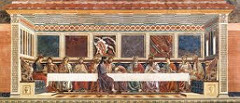 The Last Supper by Castagno, 15th Cen. Italian Ren. - made to look like own architectual - 15 X 32 feet  - commitment to biblical narrative - ceiling reccresses - but still 1 pt. - not parallel, bad spacong - segregates Judas from table - figures not inspiring,  - static, sculptural, solid figures - conventional layout - sel absorption in most - panels of marble behind