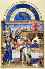 The limbourg Brothers Tres Riches Heures du Duc de Berry January&July pages 1413-1416