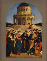 The Marriage of the Virgin by Raphel, High Ren - Gold legend book of saints, 13 stories - Joseph and other suitors trying to get hand of Mary, high priest would give her to whichever man had the best blooming rod - foreshortening technique w/man breaking rod over knee - virgins behind Mary, dejected men got other women - central plan temple in background, like il tempietto by bramante :o, but more rounded - brunelleschi-style arcades - raphael creates orthagonels w/ground - more unification and focus  - women idealized and blah