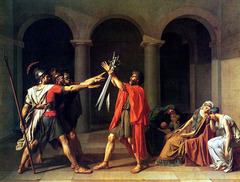 The Oath of the Horatii Jacques-Louis David. 1784 C.E. Oil on canvas Designed to rally republicans (those who believed in the ideals of a republic, and not a monarchy, for France) by telling them that their cause will require the dedication and sacrifice of the Horatii.