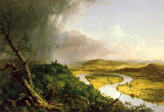 The Oxbow Thomas Cole. 1836 C.E. Oil on canvas The artist juxtaposes untamed wilderness and pastoral settlement to emphasize the possibilities of the national landscape, pointing to the future prospect of the American nation. Cole's unmistakable construction and composition of the scene, charged with moral significance, is reinforced by his depiction of himself in the middle distance, perched on a foreland painting the Oxbow.
