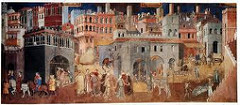 The Peaceful City by Ambrogio Lorenzetti, Proto-Renaissance - clustered buildings within city walls, creates sense of business, people working, festives, radiant maidens, celebratory  - outer - effects of good government on people