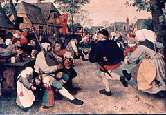 The Peasant Dance by Bruegel, 16th cen N Ren - Reddish browns = warmth - encourages viewer participation - peasants have literally not a care, no real focus, just glee - strong but simplified model figure, silhouettes - robust qualities - trying to teach mores of culture, contradicts idea of his respecting the lower classes - backs turned to church, no one cares about madonna, guy wearing peacock feather = vanity, couple kissing in public, people playing music, fight breaking out - music is way to devil - festival celebrating saint, pretext for people to indulge in sin