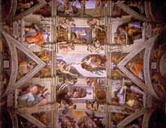 The Sistine Chapel ceiling. Renaissance. Michelangelo depicts prophets, old testament scenes, sibyls on the ceiling.