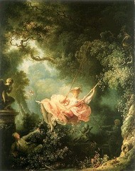 The Swing Jean-Honoré Fragonard. 1767 C.E. Oil on canvas The Swing, rich with symbolism, not only manages to capture a moment of complete spontaneity and joie de vivre, but also alludes to the illicit affair that may have already been going on, or is about to begin.