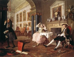 The Tête à Tête, from Marriage à la Mode William Hogarth. c. 1743 C.E. Oil on canvas First Western artist who worked in series, that is, a group of paintings with a common thread, a common theme. Now many contemporary artists work in series to explore different styles and approaches to their art, but this was not usual in the 18th century.