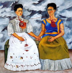 The Two Fridas Frida Kahlo. 1939 C.E. Oil on canvas She typically painted self-portraits using vibrant colours in a style that was influenced by cultures of Mexico as well as influences from European Surrealism. Her self-portraits were often an expression of her life and her pain.