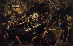 Tintoretto. Mannerism. Last Supper. Shows the artist's use of a spiritual, visionary interpretation. Converging perspective lines help to create a distubing effect of limitless depth and motion.