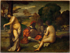 Titian. Italian. The Concert, 1508—1511, High Renaissance. -exemplifies poetic and arcadian influence of Bellini, both their teachers -Out of the dense shadow emerge the soft forms of figures and landscapes -mood of tranquil reverie and dreaminess over the entire scene, evoking the enigmatic in lighting -two nude women, accompanied by two clothed men, occur the rich abundant landscape -the Shepherd symbolize his poetry -twp women men are invisible inspiration for the two men, the voluptuous bodies of the women, modulated by the smoky style, is the standard in Venetian art -poetic personification of nature's abundance -early work of Giorgione's student Titian; -a little bit of archietcure in the background -but primarily about the beautiful nude figures in the foreground -arcadian references, this is the land of perfection, ease and beauty when poetry and music are the paramount concerns, does a large number of classical subjects -this is referred to as the concert