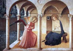 Title/Name: Annunciation Artist: Fra Angelico Date: c. 1438 - 1445 Location: Monastery of San Marco, Florence, Italy Significance: It's a simple and direct painting with no shadow.