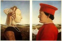 Title/Name: Battista Sforza and Federico da Montefeltro Artist: Piero della Francesca Date: 1474 Location: Urbino, Italy Significance: Combines the profile views on Roman coins with the landscape backgrounds of Flemish portraiture.