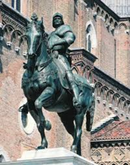 Title/Name: Equestrian Monument of Bartolommeo Colleoni Artist: Andrea del Verrocchio Date: Clay model 1486 - 1488, Cast after 1490, Placed 1496 Location: Venice, Italy Significance: Completed after Colleoni died. Depicted with an exaggerated tautness in creating a portrait of merciless might.