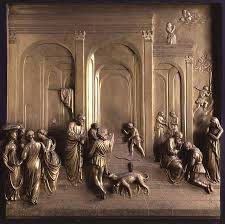 Title/Name: Jacob and Esau Artist: Lorenzo Ghiberti Date: c. 1435 Location: Florence, Italy Significance: Is one of the panels on the Gates of Paradise. Provides a clear example of linear perspective.