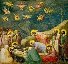 Title/Name: Lamentation Artist: Giotto di Bondone Date: 1305 - 1306 Location: Scrovegni (Arena) Chapel, Padua, Italy Significance: Uses new devices to depict depth and body mass via management of light and shade.