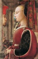 Title/Name: Portrait of a Woman & Man (Angiola Di Bernardo Sapiti & Lozenzo Di Ranieri Scolari) Artist: Fra Filippo Lippi Date: c. 1435 - 1445 Significance: Thought to be the first double portrait in Italian art.