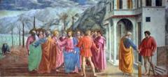 Title/Name: Tribute Money Artist: Masaccio Date: c. 1427 Location: Brancacci Chapel, Church of Santa Maria del Carmine, Florence, Italy Significance: