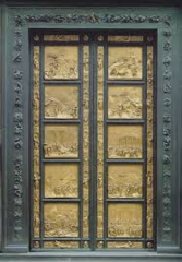 Title/Name:Gates of Paradise, East Doors, Baptistry of San Giovanni Artist: Lorenzo Ghiberti Date: 1425 - 1452 Location: Florence, Italy Significance: Depicts 10 episodes of the Old testament. Abandoned the quatrefoil frames of Pisano's, Michelangelo himself said they could be the Gates to Paradise.