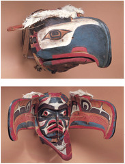 Transformation mask Kwakwaka'wakw, Northwest coast of Canada. Late 19th century C.E. Wood, paint, and string The masks, whether opened or closed, are bilaterally symmetrical. Typical of the formline style is the use of an undulating, calligraphic line. The ovoid shape, along with s- and u-forms, are common features of the formline style.