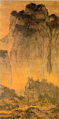 Travelers among Mountains and Streams Fan Kuan. c. 1000 C.E. Ink and colors on silk Fan Kuan's masterpiece is an outstanding example of Chinese landscape painting. Long before Western artists considered landscape anything more than a setting for figures, Chinese painters had elevated landscape as a subject in its own right. Bounded by mountain ranges and bisected by two great rivers—the Yellow and the Yangzi—China's natural landscape has played an important role in the shaping of the Chinese mind and character. From very early times, the Chinese viewed mountains as sacred and imagined them as the abode of immortals. The term for landscape painting in Chinese is translated as