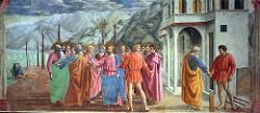 Tribute Money by Masaccio, 15th Cen. Italian Ren  - true money for fov - simple frandou tet spychology  - cicular/ellipital shaape  - lighting alnist sshugb - high presco, imortaj perspectivce - haad - sharper/quality of bach  - very individualistic interpretiojn