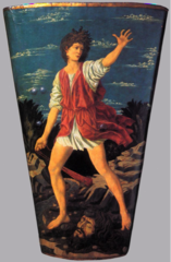 Triumph of David, Andrea del Castagno, 1450, shield, leather on wood