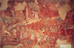Triumph of Death by Triani, Proto-Ren  - fresco  - 18 ft high, 49 ft wide  - new theme appearing after corrosive black death - wealthy men and ladies riding up to 3 coffins: 3 decomposed states of death, terrible stench, still try to observe and help what has happened - all walks of life attacked by death, social statement that death is universal - portrayed hermit, but even isolated cannot escape from death