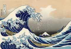 Under the Wave of Kanagawa (Kanagawa oki nami ura), as known as the Great Wave, from the series Thirty-six Views of Mount Fuji Katsushika Hokusai. 1830-1833 C.E. Polychrome woodblock print; ink and color on paper The Great Wave has became one of the most famous works of art in the world—and debatably the most iconic work of Japanese art. Initially, thousands of copies of this print were quickly produced and sold cheaply. Despite the fact that it was created at a time when Japanese trade was heavily restricted, Hokusai's print displays the influence of Dutch art, and proved to be inspirational for many artists working in Europe later in the nineteenth century.