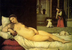 Venus of Urbino by Titian, Venetian - wife picture for Duke of Urbino, mythos, classical and ren - diagonal reclining nude - natural reclining female - linear play - bed emphasizes form, softness w/silk sheets below,  - dog = pendant, balances form - composition - depth of space  - drapery breaks up units, frames Ms Urbino  - red in bed and in servants dress = counterbalance - fruit = carnal pleasure