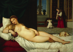 Venus of Urbino, Titian, 1538, oil on canvas