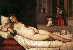 Venus of Urbino. Titian. c. 1538 CE. Oil on canvas. With this painting, Titian established the genre of the reclining female nude that many later artists would use. Titian manipulated the proportions of the body to make the figure especially elegant. The painting is of a female nude and was given the title after it was painted, which justified the nude female figure.  use of tempura glaze  The overt sensuality ---- softness of the colors