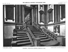 Vestibule of Laurentian Library by Michelangelo, High Ren - verticality compressed, shaft-like space focused on vertical - indifferent to classical norms, synching back into wall, breaks columns around corners, unnatural, consoles beneath columns not for support, random volutes  - plasters taper downwards instead of up  - stairway flows out of door, like tongue rolling out of mouth .. a bit baroque  - stairs on side, blocky - curvalinear w/angular form combined  - walls divided by cornices, recessed windows, two-toned, dramatically odd in style
