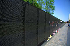 Vietnam Veterans Memorial. Washington, D.C., U.S. Maya Lin. 1982 C.E. Granite. The strength of the granite contrasts with softness of the grass and brings a balance to both nature and architecture.