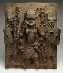 Wall plaque, from Oba's palace Edo peoples, Benin (Nigeria). 16th century C.E. Cast brass It was the first of three exceptional masterpieces from the Kingdom of Benin acquired under Goldwater's guidance that dramatically transformed the collection.