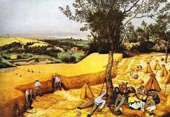 Wheat Harvest (August) Artist: Pieter Bruegel Themes -Otium: joys of working land; perfect place, joys of being in natural world -Class: division of labor class in front and newly merchant/rich class in back; satire of working class