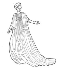 Women: 1400-1450 Houppelandes and fitted gowns