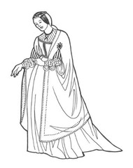 Women: 1500-1550 Gowns are full, have puffed sleeves; are decorated with puffs and slashes