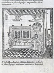 Woodcut illustration from Predica dell'arte del bene morire (Sermon on the art of dying well), by Girolamo Savonarola, 1495