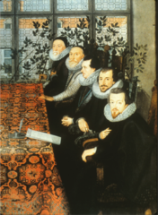 Younger men wearing the fashionable clothing of the day while the older men wear hats and coifs along with the more modern ruff. Older men have square-cut beards, the younger men pointed beards.