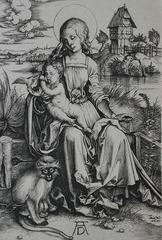 "Albrecht Durer, Virgin, Child and Monkey, c.</p> <p> 1498 (Engraving)""></p></div> <div class="