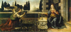Annunciation, da Vinci 1473 - Mary has her fingers in the Bible, suggesting foreknowledge of annunciation scene - display of skill with painting drapery - follows style of Flemish painters - but to suit Italian needs