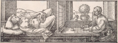 Artist drawing a Reclining woman