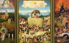 Bosch.</p> <p> Creation and Expulsion. The Haywain Triptych. Oil on panel. 1500.</p> <p>