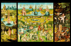 Bosch.</p> <p> Garden of Earthly Delights from Garden of Earthly Delights Triptych. Oil on panel. 1500-1505.