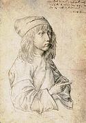 Durer. Self Portrait. Silverpoint.</p> <p> 1480.