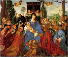 Feast of the Rosary, Durer 1506 -only altarpiece painted by Durer, he considered it greater than the Italian altarpieces