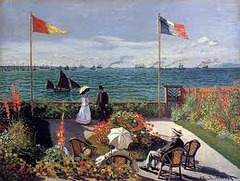 Garden at Sainte-Adresse Artist: Monet Themes: -Japanese prints engage w/ impressionism -modern life -not every detail depicted -impressionist eye: looking and painting: tone/shading not present