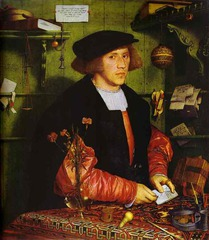 Hans Holbein the Younger.</p> <p> Portrait of George Gisze of Danzig. Oil on Panel. 1532.