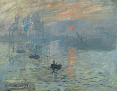 Impression, Sunrise Artist: Monet Themes: -Impressionist eye: blobs of color, shading crude -focus is on paint itself: out of tubes -modernity: urban backdrop even if called