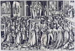 Israhel van Meckenem.</p> <p> Dance at the Court of Herod. Engraving. 1500.