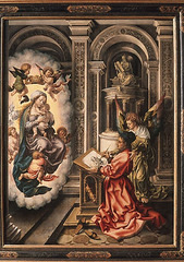 Jan Gossaert.</p> <p> Saint Luke Drawing the Virgin. Oil on panel. 1520.